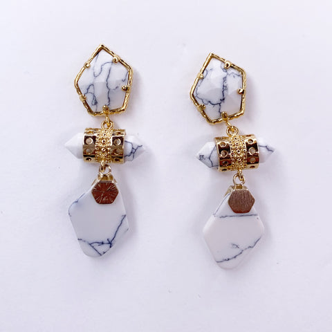 Alessia White Howlite Drop Earrings