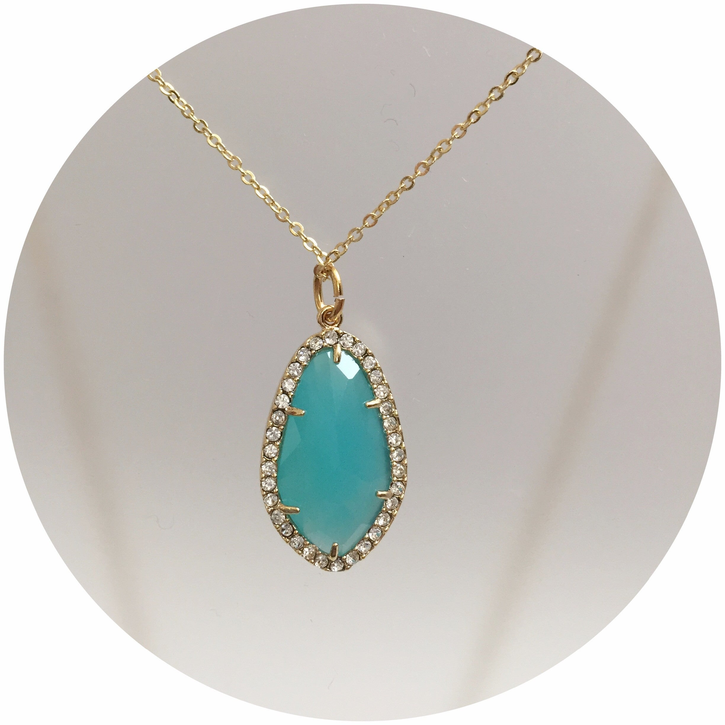 Pavé Aqua Glass Necklace - Oriana Lamarca LLC
