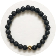 Mens Black Lava with Gold Accent