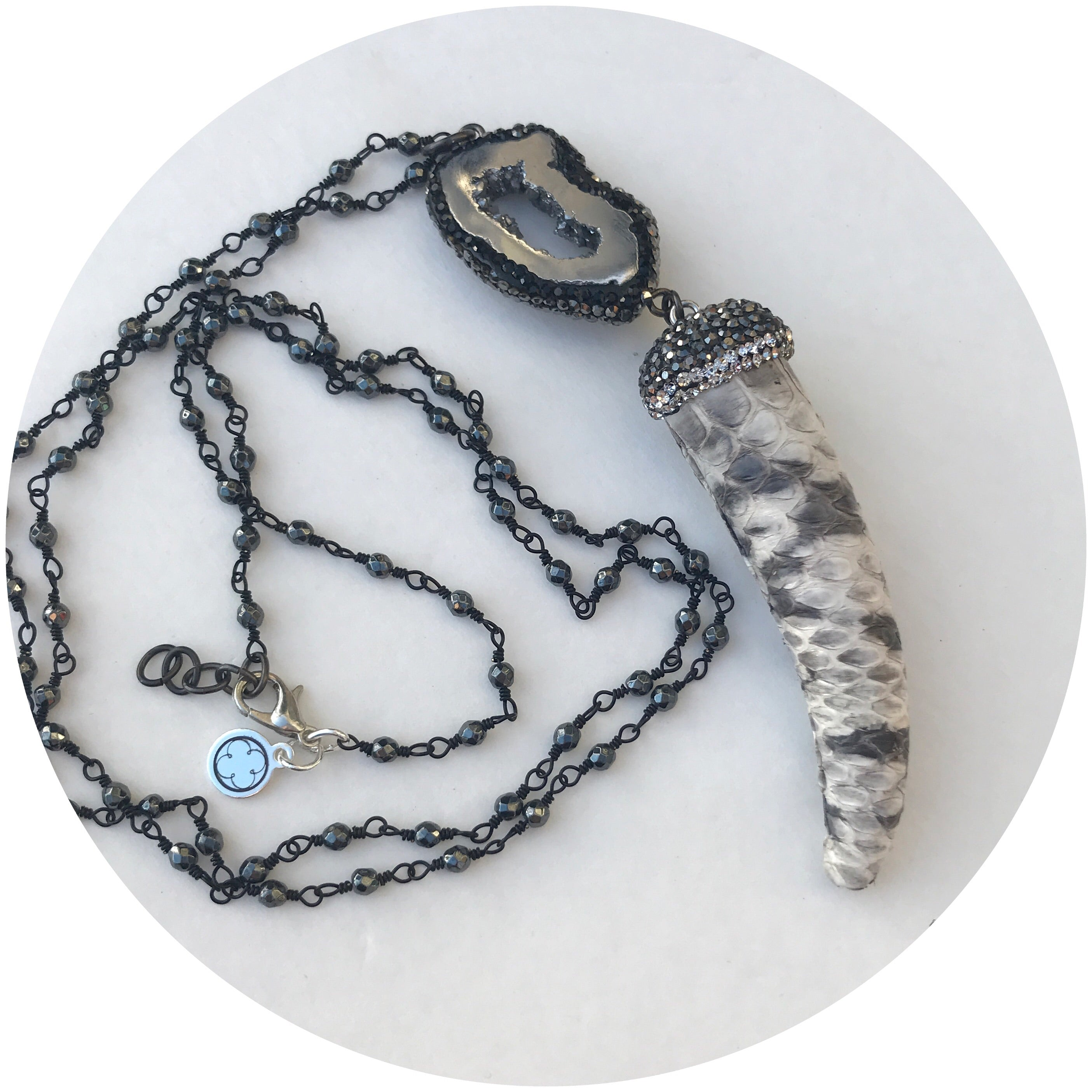 Hematite Beaded Chain with Snake Skin Horn Pendant Necklace