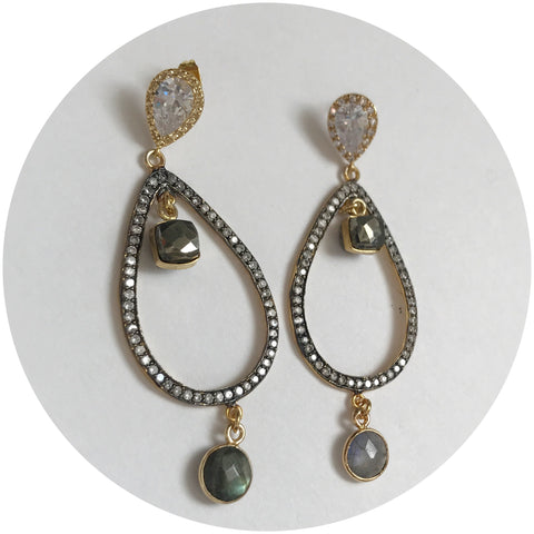 Goldie Oxidized TearDrop Pavé Pyrite Earring