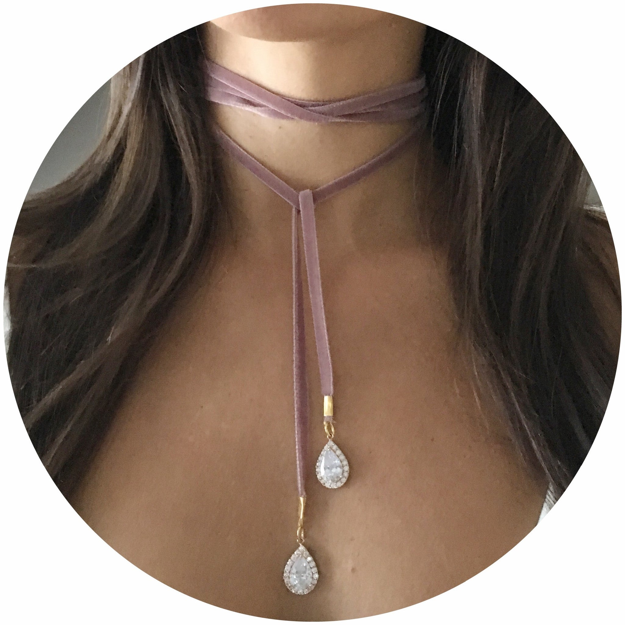 Dusty Rose Velvet Choker Wrap Necklace with Pavé Teardrops - Oriana Lamarca LLC