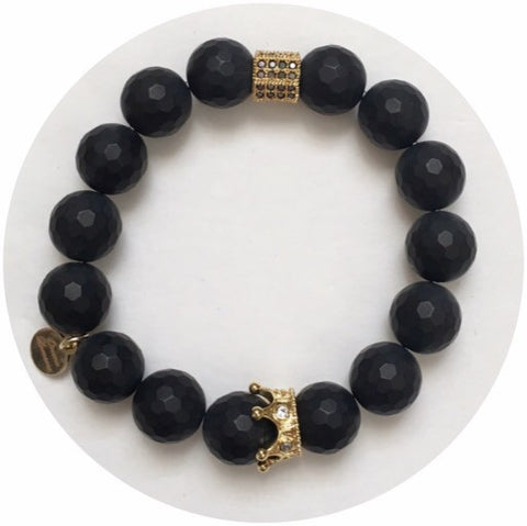 Nate B. Matte Black Onyx Pavè Royalty Crown