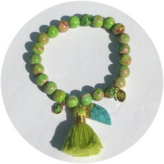 Green Imperial Jasper with Lime Green Tassel and Turquoise Horn Pendant - Oriana Lamarca LLC