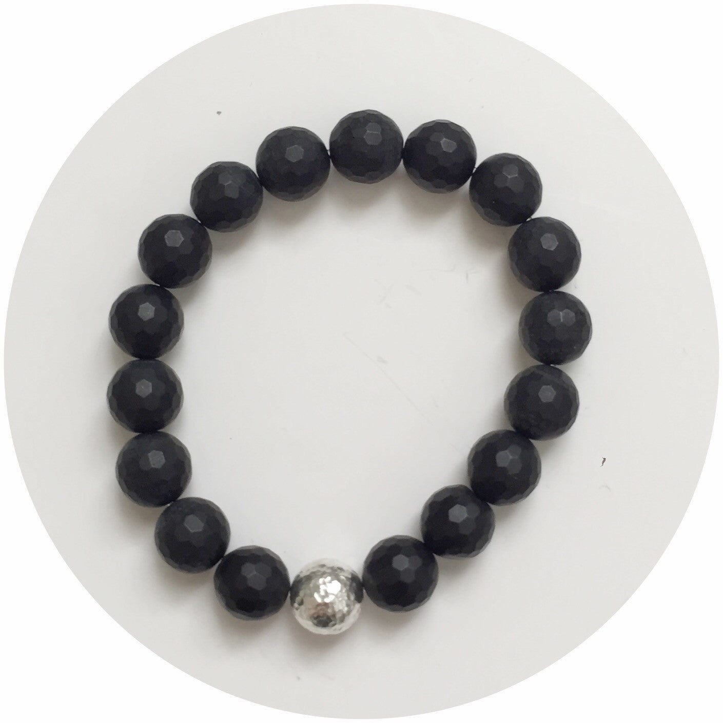 Matte Black Onyx with Hammered Sterling Silver Accent - Oriana Lamarca LLC