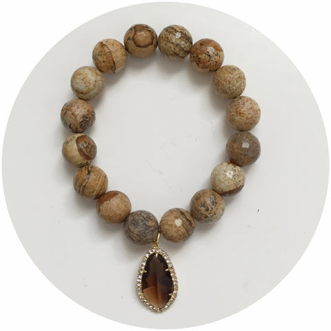 Picture Jasper bead with Pavé Topaz Crystal Point Pendant