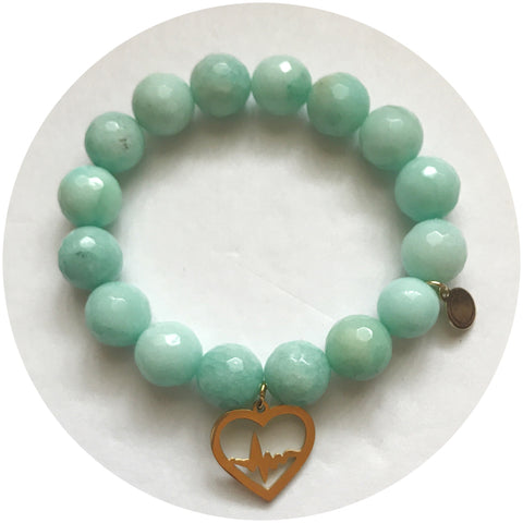 Jannone Nurse Scholarship Sea Foam Green Jade with Gold Heartbeat Heart Pendant