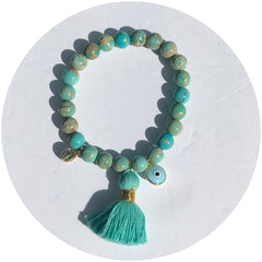 Turquoise Imperial Jasper with Mint Tassel
