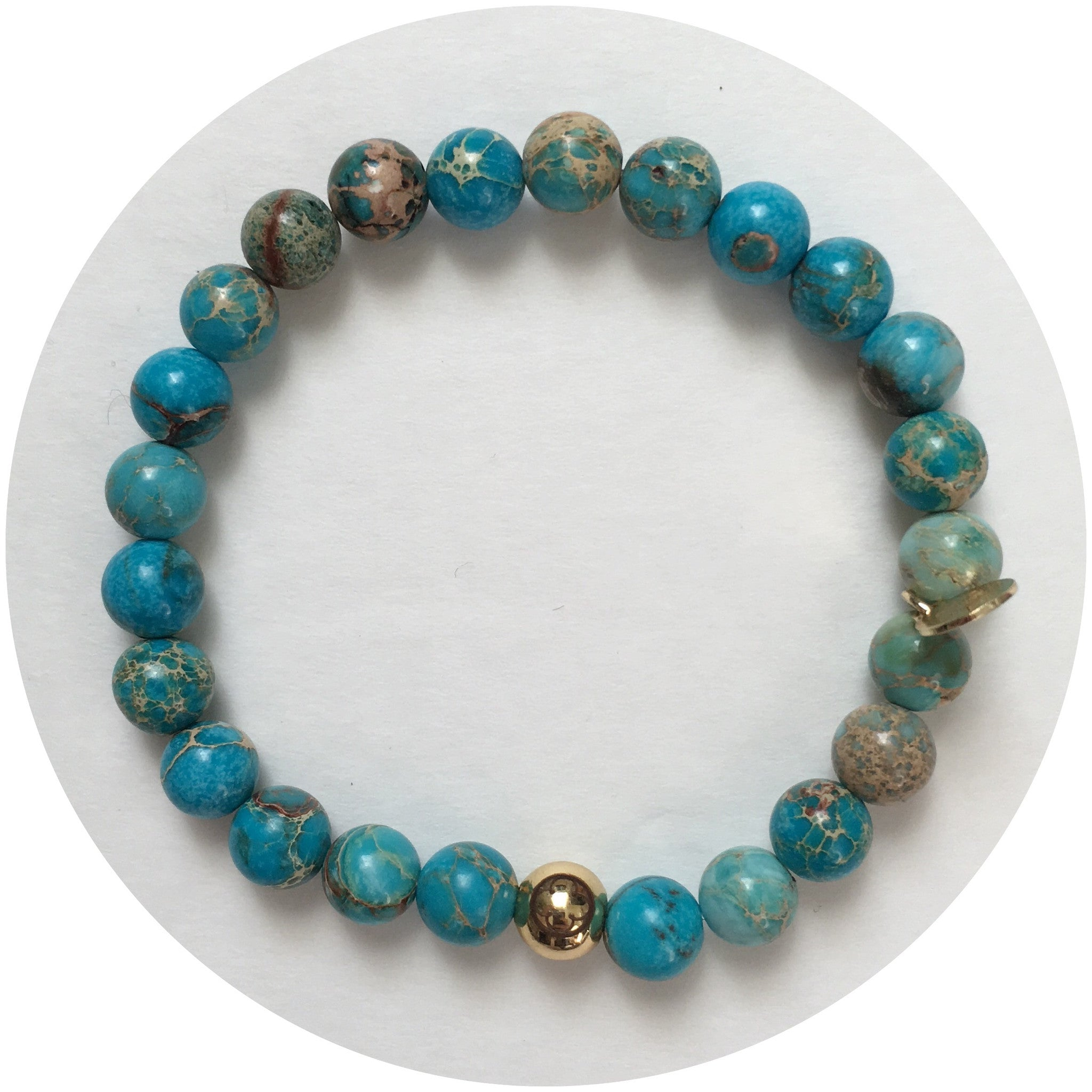 Mens Turquoise Imperial Jasper with Gold Accent - Oriana Lamarca LLC