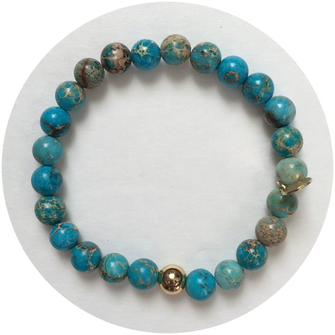 Mens Turquoise Imperial Jasper with Gold Accent