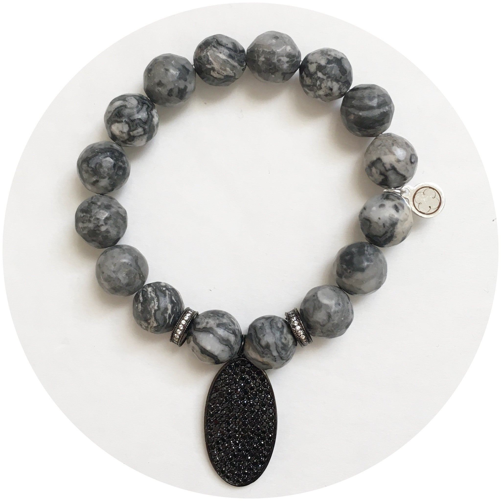 Mr. Jasper Grey with Black Pavé Oval Pendant
