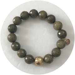 Olive Jade with Hammered Gold Accent