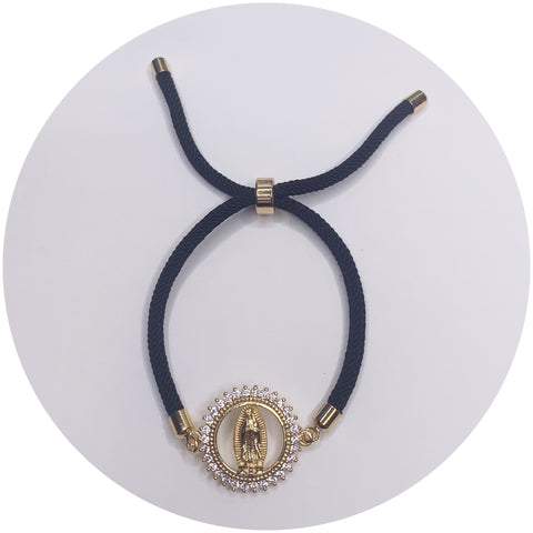 Black Cord with Blessed Mother Pavé Connector