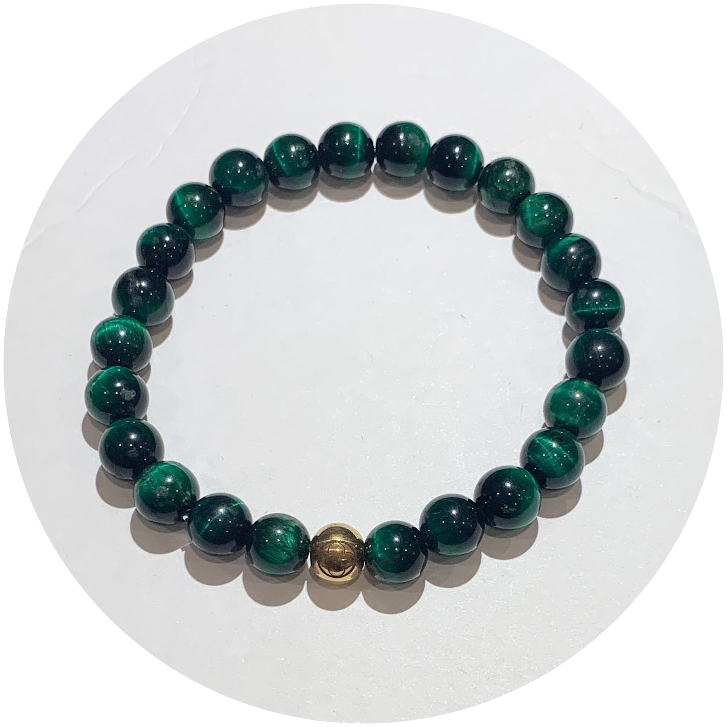 Mens Green Tiger Eye with Gold Accent