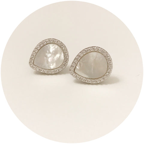 Mother of Pearl Silver Pavé Stud Earring