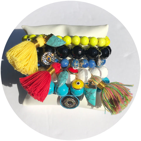 Yellow Howlite with Yellow Tassel and Turquoise Horn Pendant