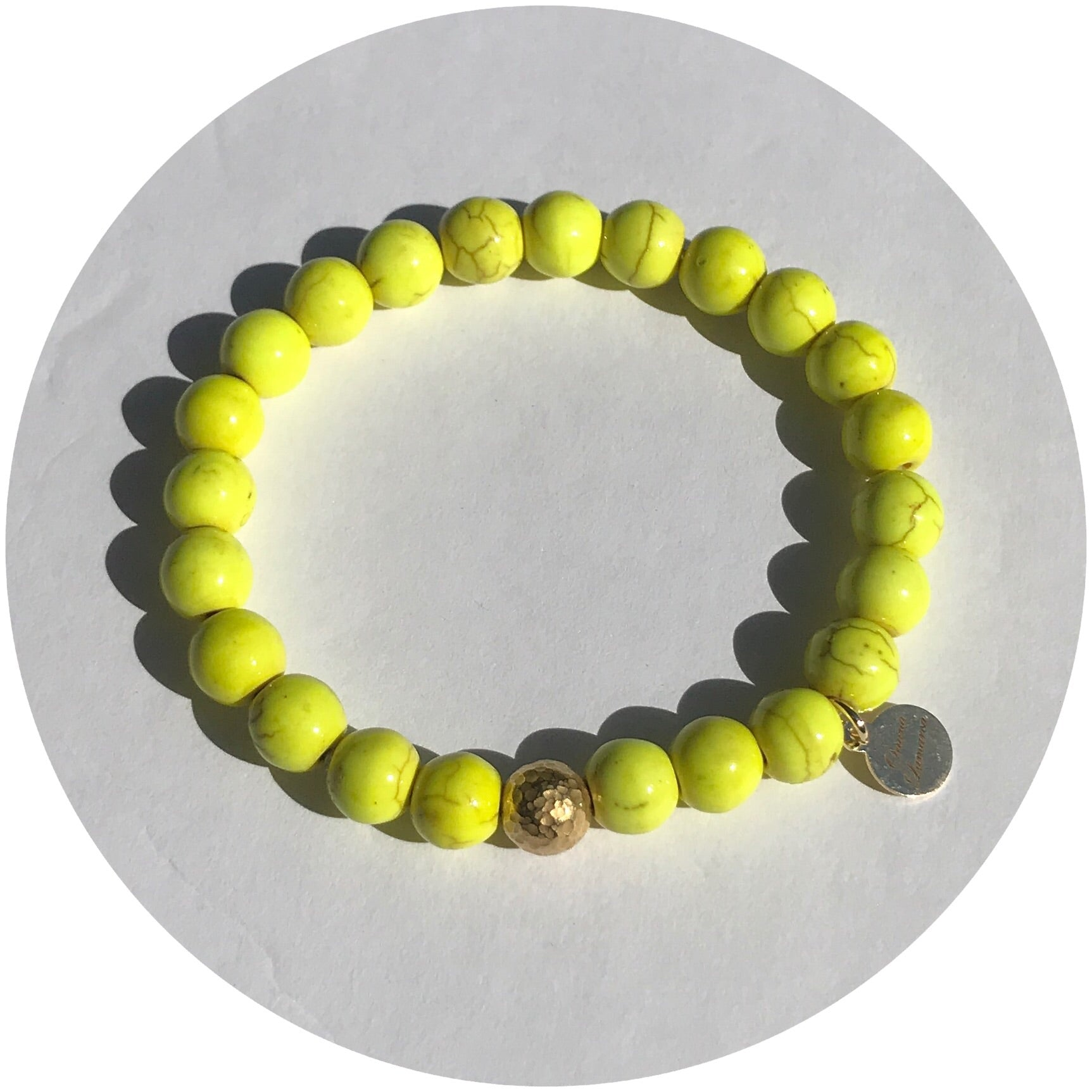 Yellow Howlite with Hammered Gold Accent