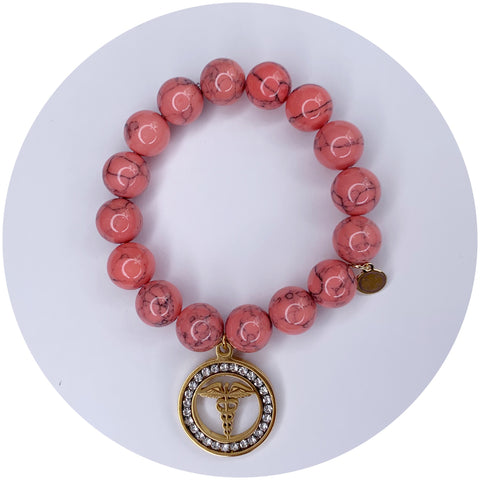 Coral Pink Howlite with Caduceus Staff of Hermes Pendant