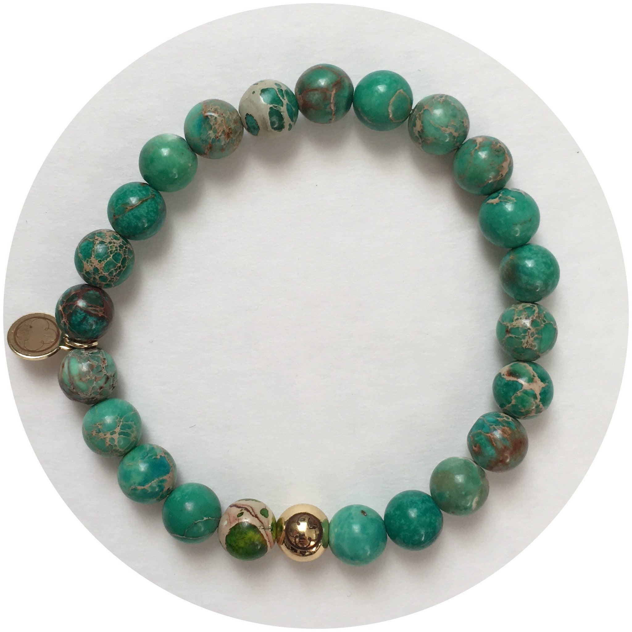 Mens Green Imperial Jasper with Gold Accent - Oriana Lamarca LLC