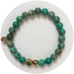 Mens Green Imperial Jasper with Gold Accent