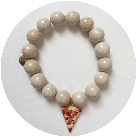 Beige Riverstone with Peperoni Pizza Pendant