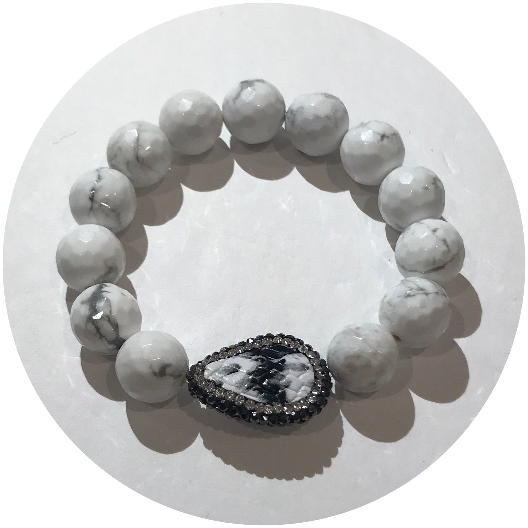White Howlite with Pavé Snake Skin Accent