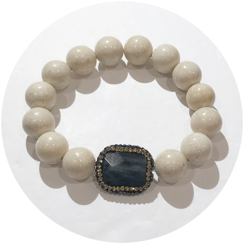 Beige Riverstone with Pavé Labradorite Connector