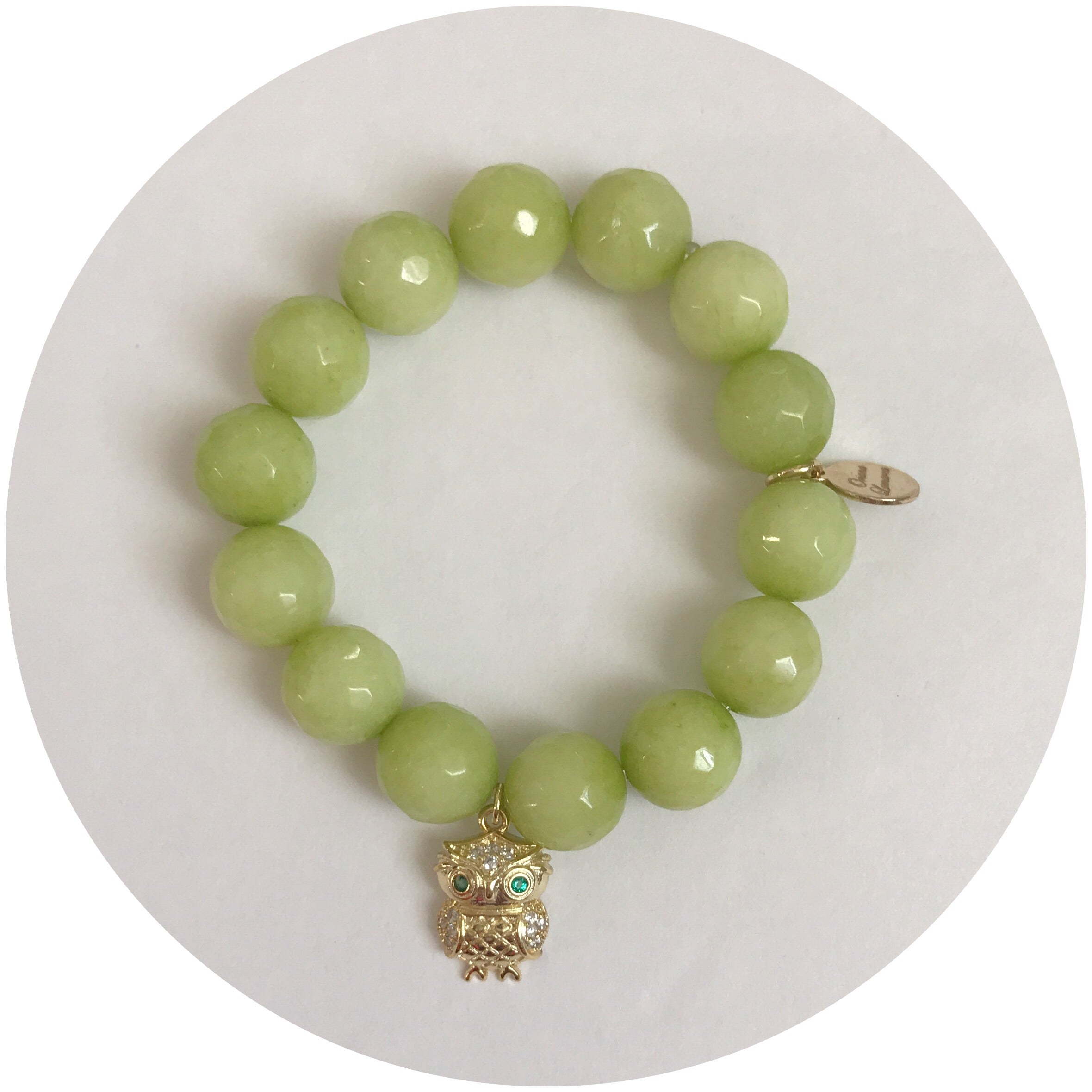 Children's Candy Apple Jade with Pavé Owl Pendant - Oriana Lamarca LLC