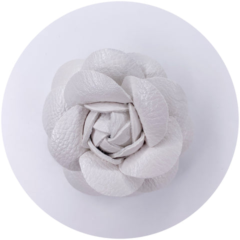 White Leather Brooch