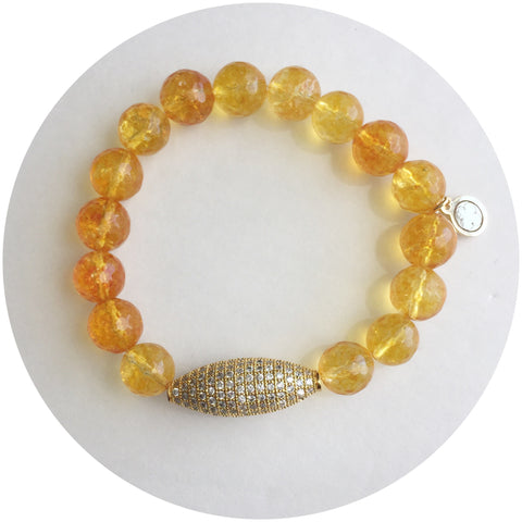 Citrine with Gold Pavé Dome