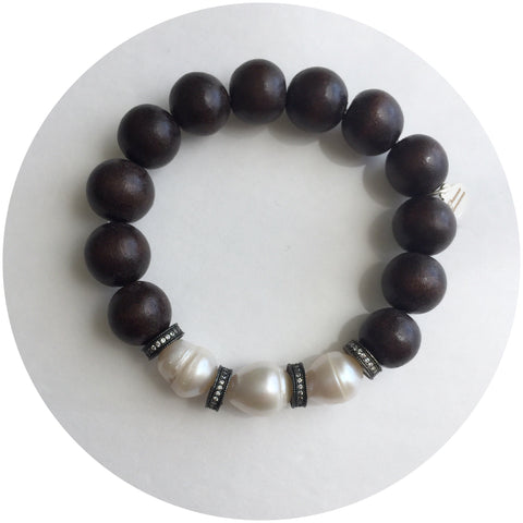 Ebony Wood with Freshwater Pearls and Gumetal Pavé Mini Spacer