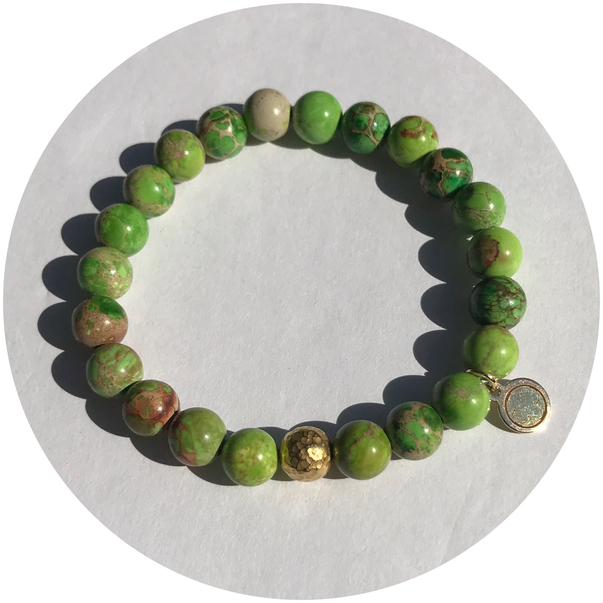 Green Imperial Jasper with Hammered Gold Accent