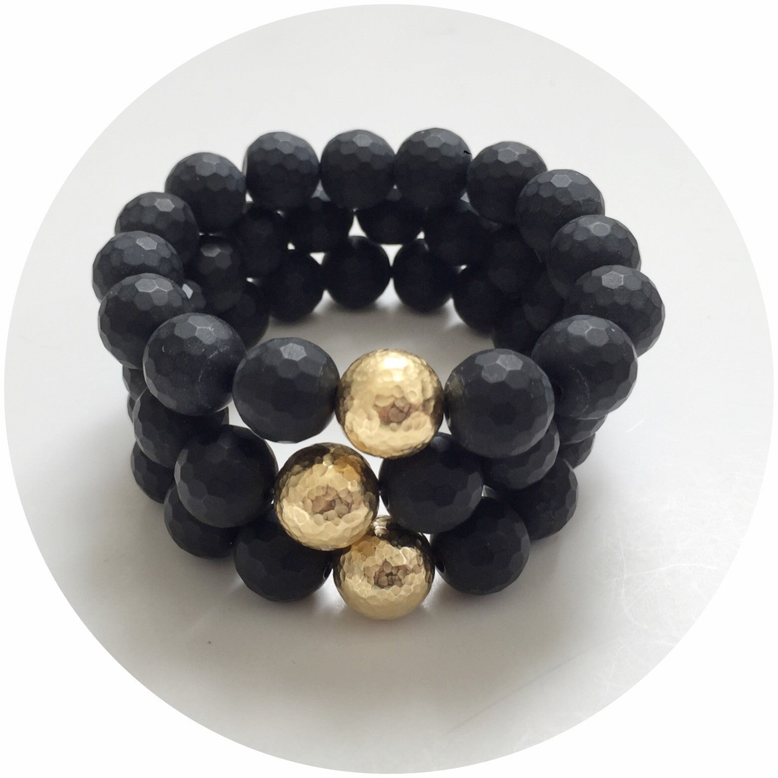 Matte Black Onyx with Hammered Gold Accent - Oriana Lamarca LLC