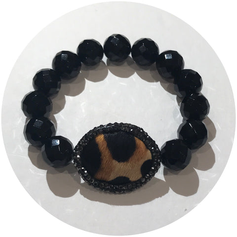 Black Onyx with Leopard Calf Hair Focal Bead
