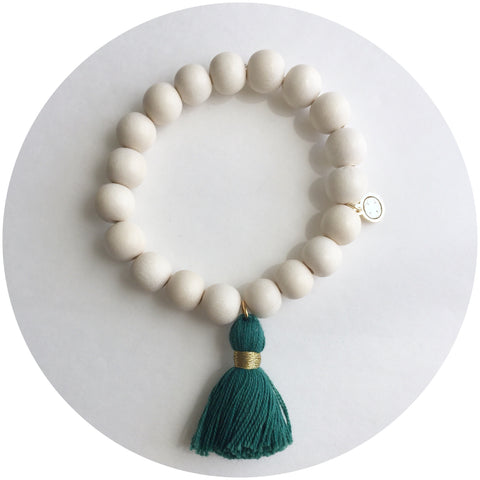Blonde Wood with Emerald Tassel