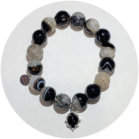 Black Quartz Agate with Pavé Black Black Glass Pendant