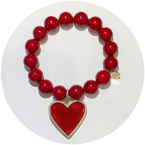 Red Riverstone with Pavé Enamel Heart Pendant