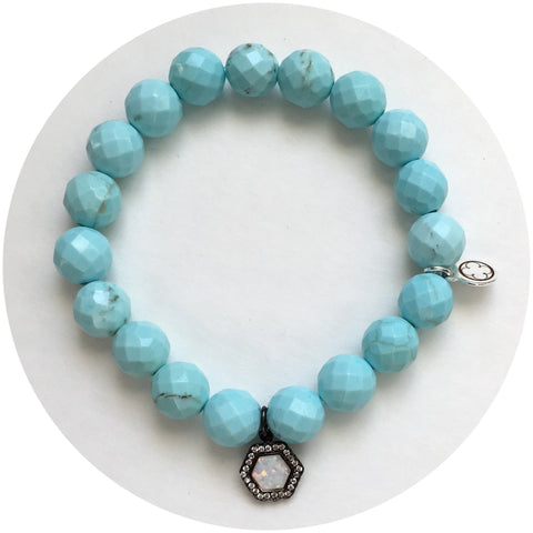 Light Turquoise Magnesite with Pavé Opal Hex Pendant