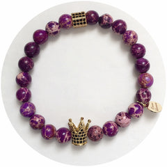 Nate B. Mens Purple Imperial Jasper with Pavè  Royalty Crown - Oriana Lamarca LLC