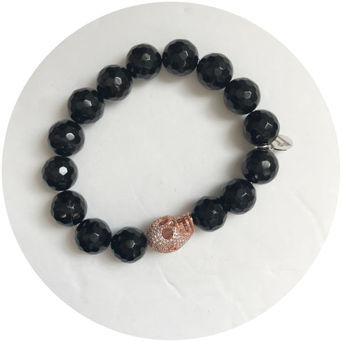 Black Onyx with Pavé Rose Gold Skull