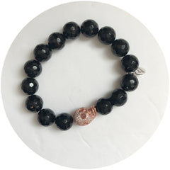 Black Onyx with Pavé Rose Gold Skull - Oriana Lamarca LLC
