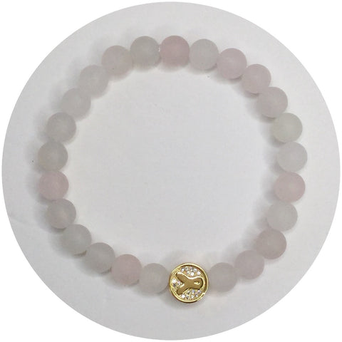 Mens Matte Rose Quartz With Gold Pavé Cancer Awareness Ribbon Accent