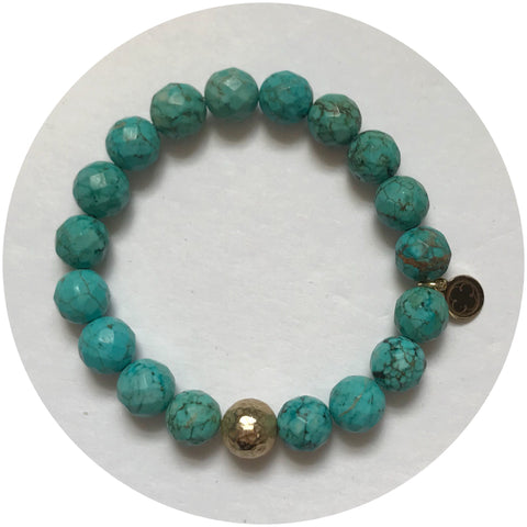 Green Turquoise with Hammered Gold Accent