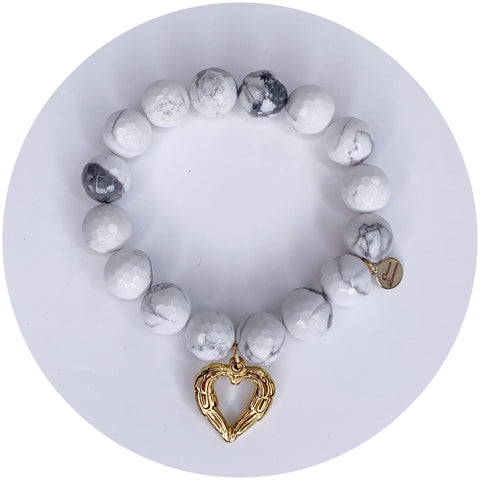 White Howlite with Gold Heart Angel Wings