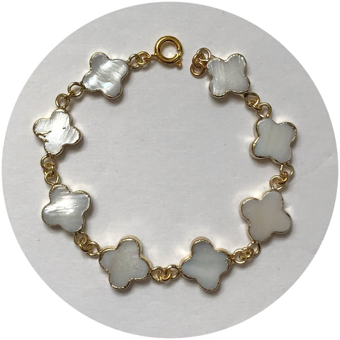 Mother of Pearl Clover Link Bracelet