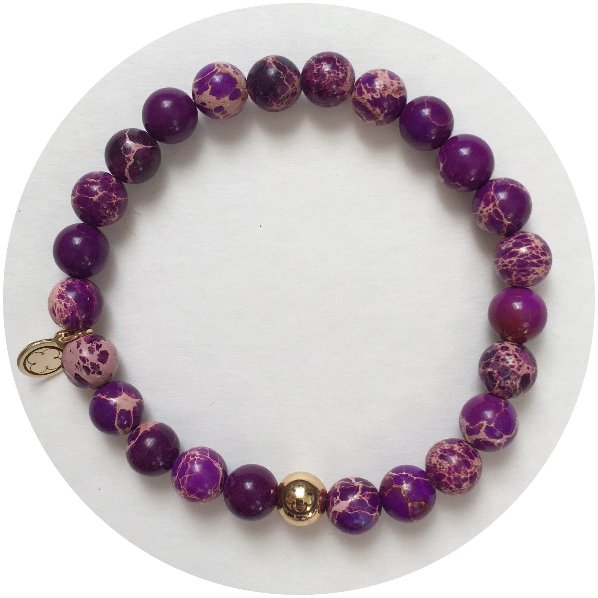 Mens Purple Imperial Jasper with Gold Accent