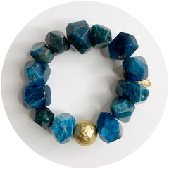 Blue Apatite Nugget with Hammered Gold Accent