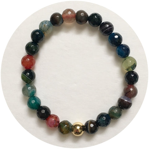 Mens Multicolor Agate with Gold Accent