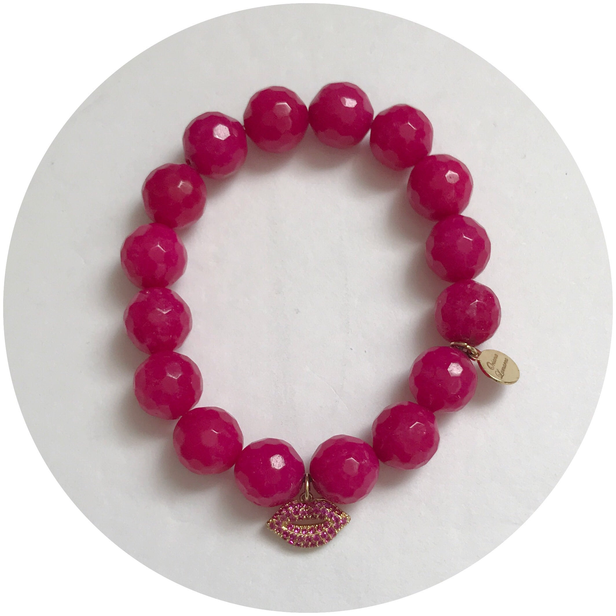 Magenta Jade with Pavé Lips Pendant