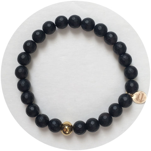 Mens Matte Black Onyx with Gold Accent